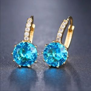 New Beautiful Gold Plated Sapphire Stud Earrings